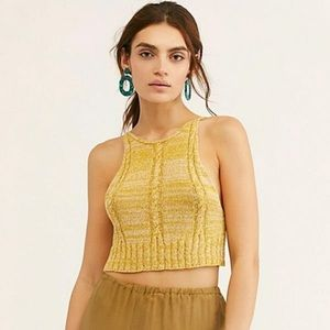 NWT Free People | Mustard Yellow Knit Crop Top R21
